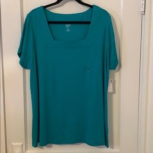 Avenue NEW Teal Squared Neck Tee 22/24